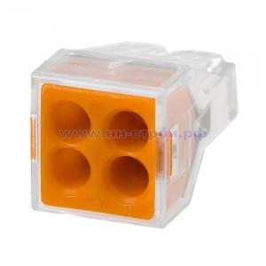 Клемма Wago 773-324 пружинная 4x2,5 кв мм прозрачная (Cu) (упаковка 100шт)