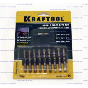 Набор бит для шуруповерта KRAFTOOL двухсторонние в пластиковом держателе Cr-V 9 предметов