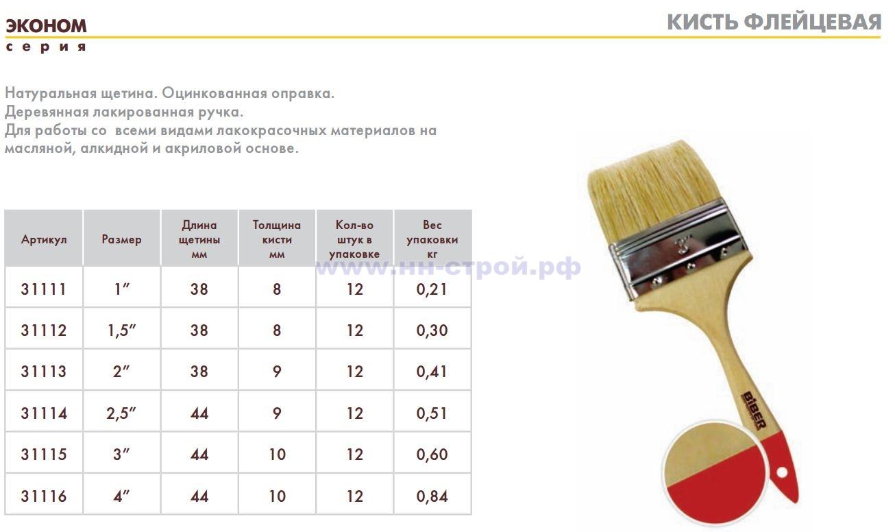 Кисть флейцевая Biber Серия ЭКОНОМ